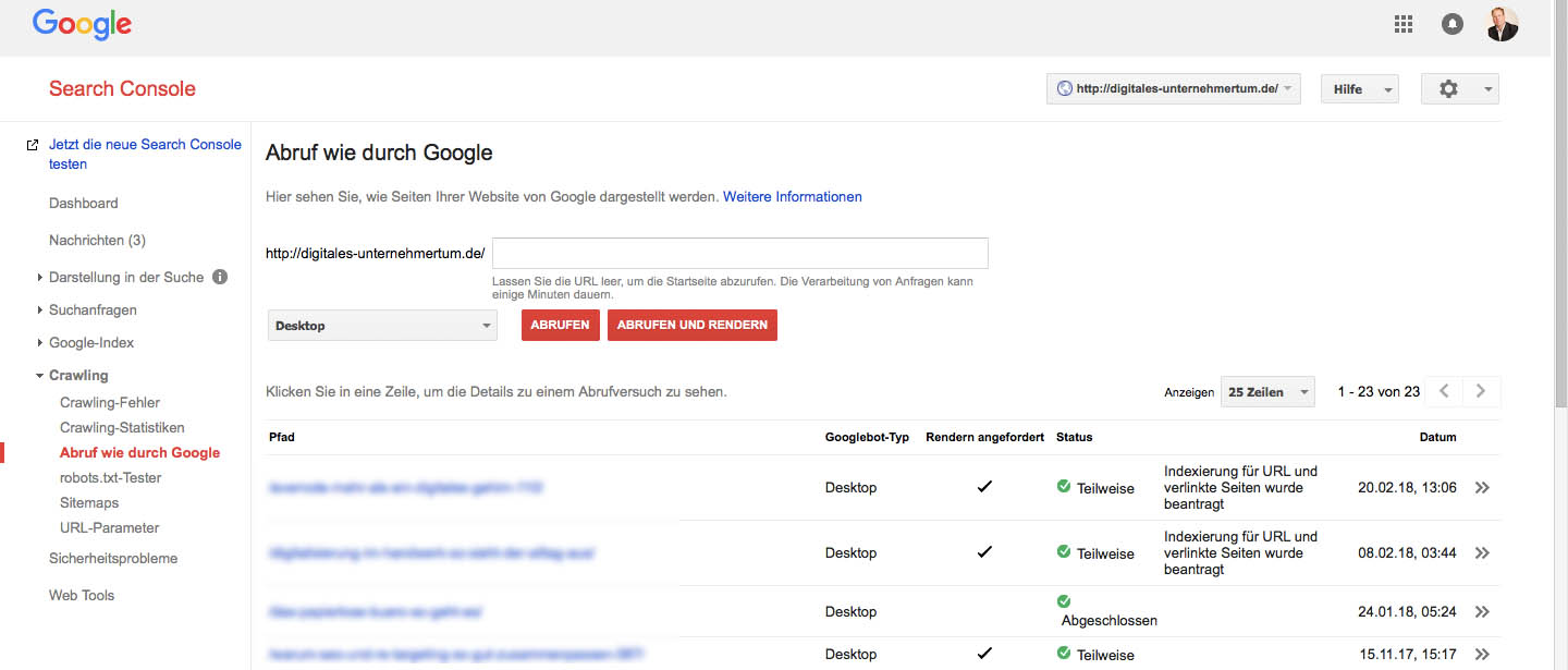 Abruf wie durch Google - Search Console